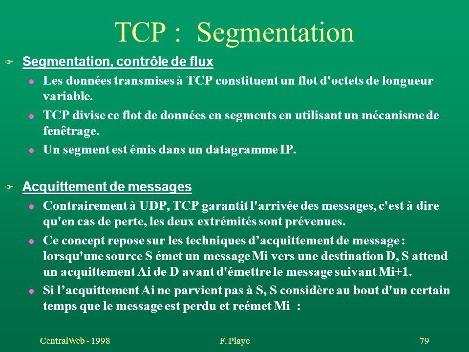 CentralWeb - 1998F. Playe 79 TCP : Segmentation F Segmentation, contrôle de flux l Les données transmises à TCP constituent un flot d'octets de longue