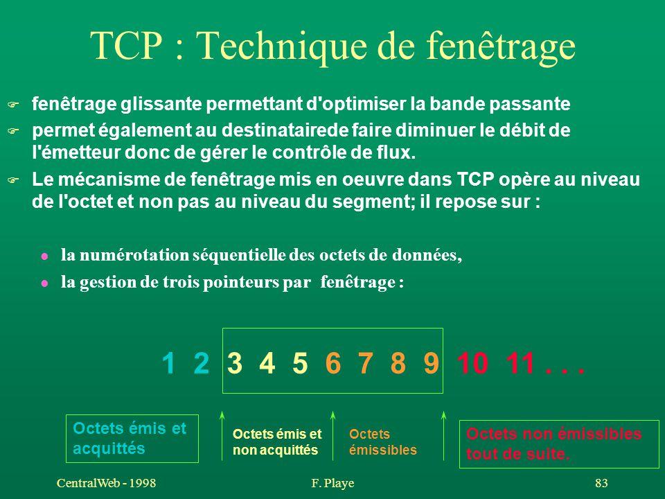 CentralWeb - 1998F. Playe 83 TCP : Technique de fenêtrage F fenêtrage glissante permettant d'optimiser la bande passante F permet également au destina