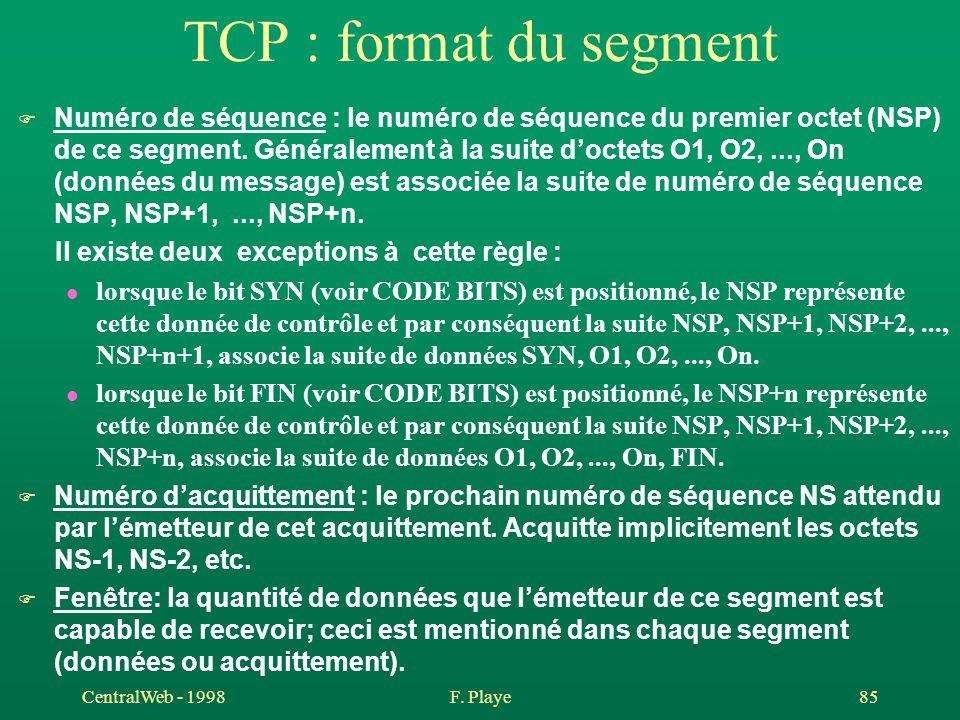 CentralWeb - 1998F. Playe 85 TCP : format du segment F Numéro de séquence : le numéro de séquence du premier octet (NSP) de ce segment. Généralement à
