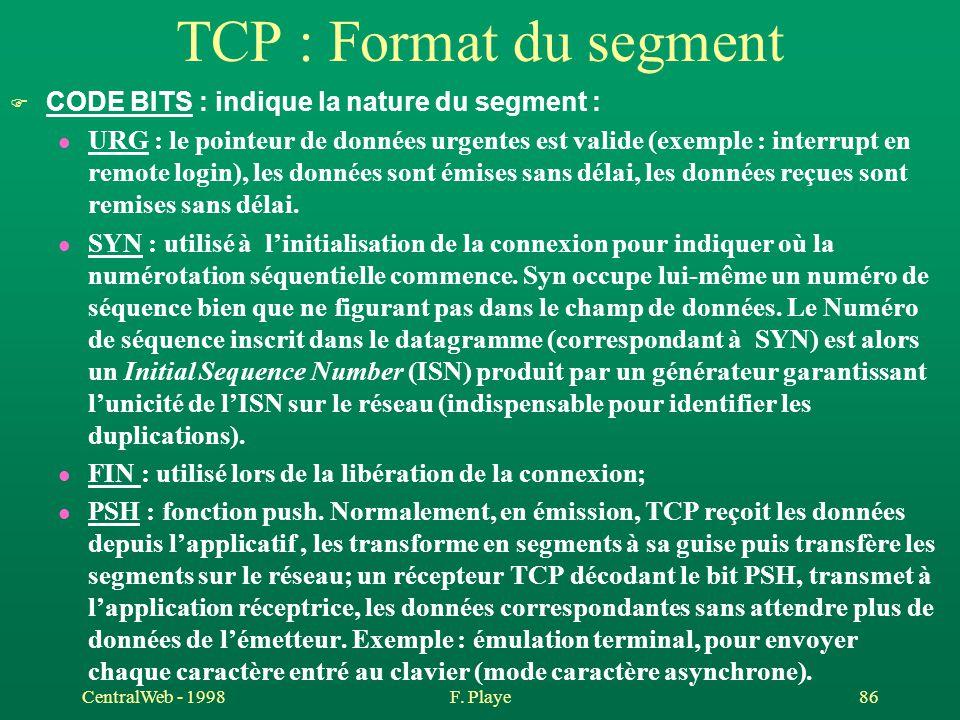 CentralWeb - 1998F. Playe 86 TCP : Format du segment F CODE BITS : indique la nature du segment : l URG : le pointeur de données urgentes est valide (