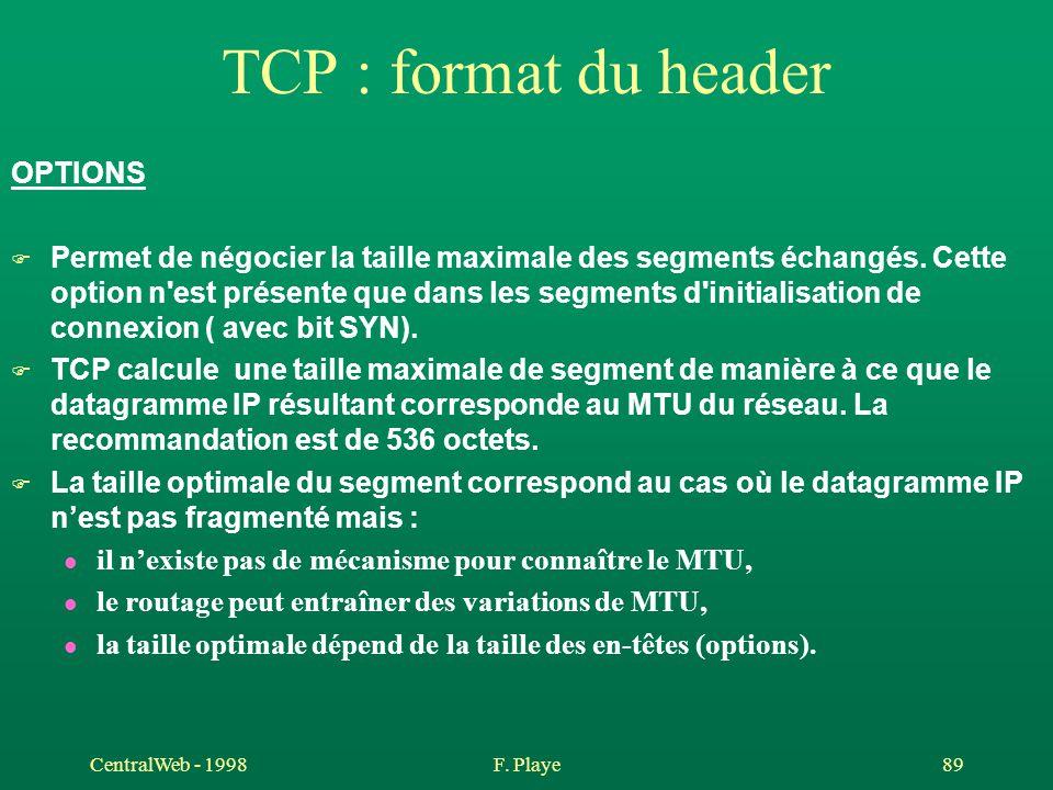CentralWeb - 1998F. Playe 89 TCP : format du header OPTIONS F Permet de négocier la taille maximale des segments échangés. Cette option n'est présente