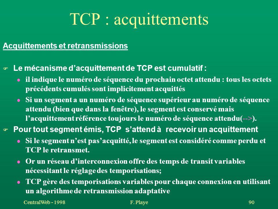 CentralWeb - 1998F. Playe 90 TCP : acquittements Acquittements et retransmissions F Le mécanisme d'acquittement de TCP est cumulatif : l il indique le
