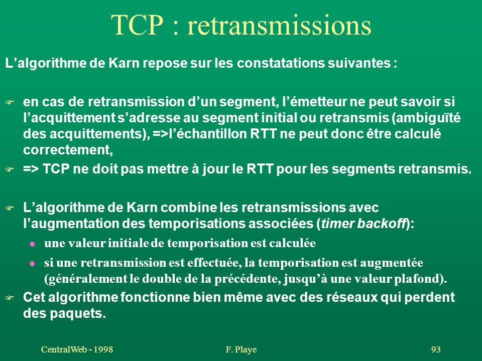 CentralWeb - 1998F. Playe 93 TCP : retransmissions L'algorithme de Karn repose sur les constatations suivantes : F en cas de retransmission d'un segme