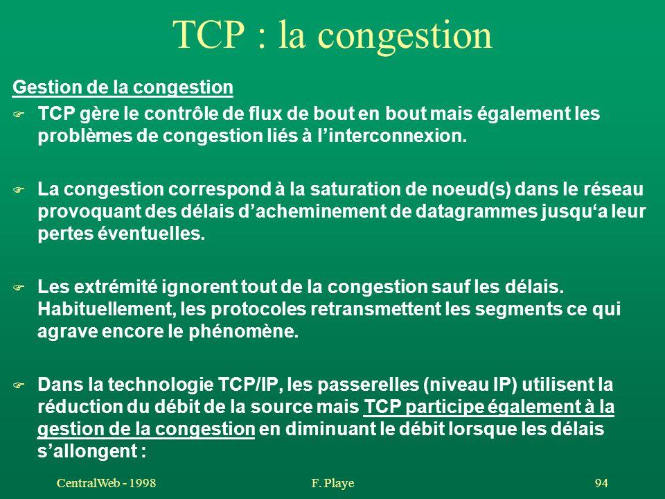 CentralWeb - 1998F. Playe 94 TCP : la congestion Gestion de la congestion F TCP gère le contrôle de flux de bout en bout mais également les problèmes