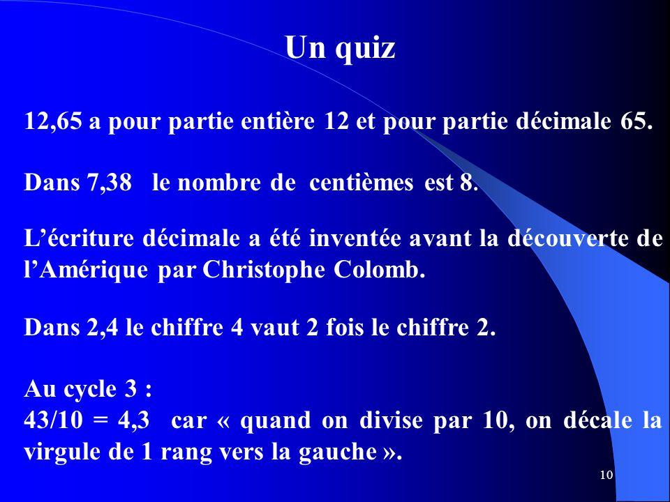 10 Un quiz 12,65 a pour partie entière 12 et pour partie décimale 65. L'écriture décimale a été inventée avant la découverte de l'Amérique par Christo