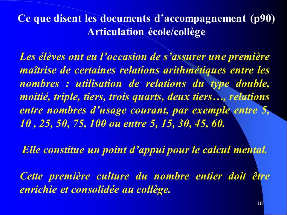 16 Ce que disent les documents d'accompagnement (p90) Articulation école/collège Les élèves ont eu l'occasion de s'assurer une première maîtrise de ce