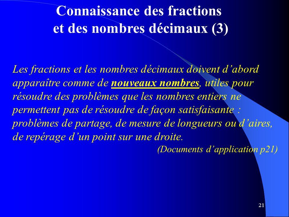 21 Connaissance des fractions et des nombres décimaux (3) Les fractions et les nombres décimaux doivent d'abord apparaître comme de nouveaux nombres,