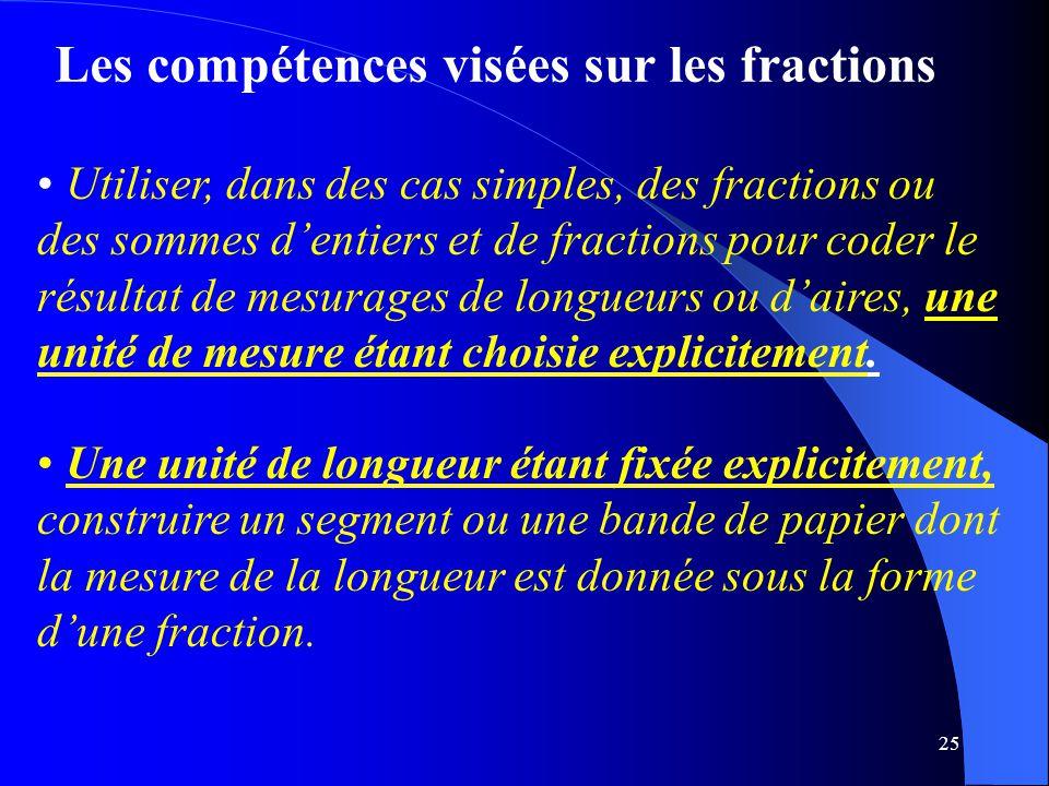 25 Les compétences visées sur les fractions Utiliser, dans des cas simples, des fractions ou des sommes d'entiers et de fractions pour coder le résult