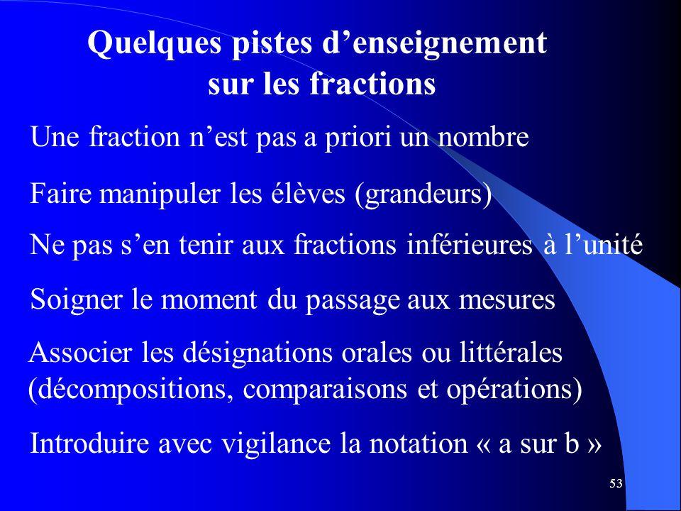 53 Quelques pistes d'enseignement sur les fractions Faire manipuler les élèves (grandeurs) Soigner le moment du passage aux mesures Associer les désig