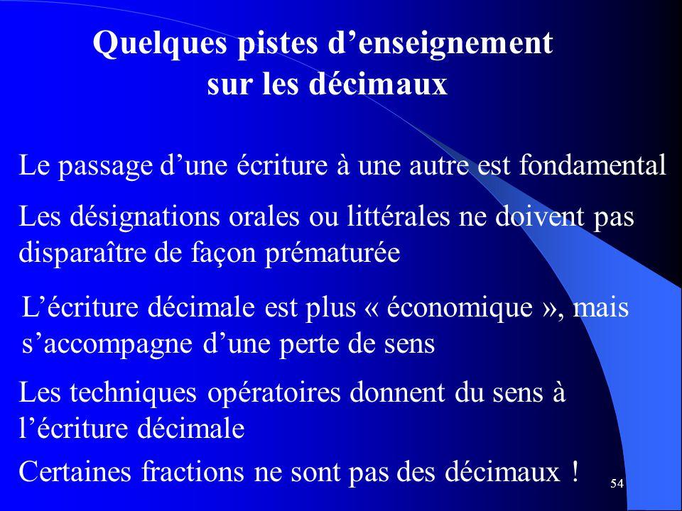 54 Quelques pistes d'enseignement sur les décimaux L'écriture décimale est plus « économique », mais s'accompagne d'une perte de sens Les techniques o