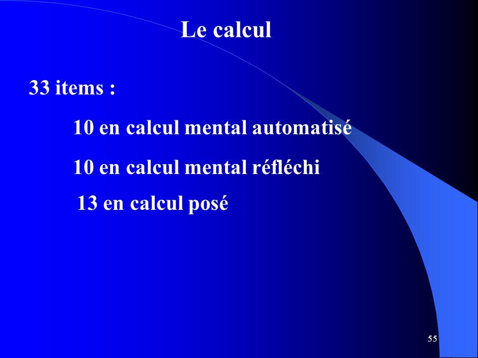 55 Le calcul 33 items : 10 en calcul mental automatisé 10 en calcul mental réfléchi 13 en calcul posé