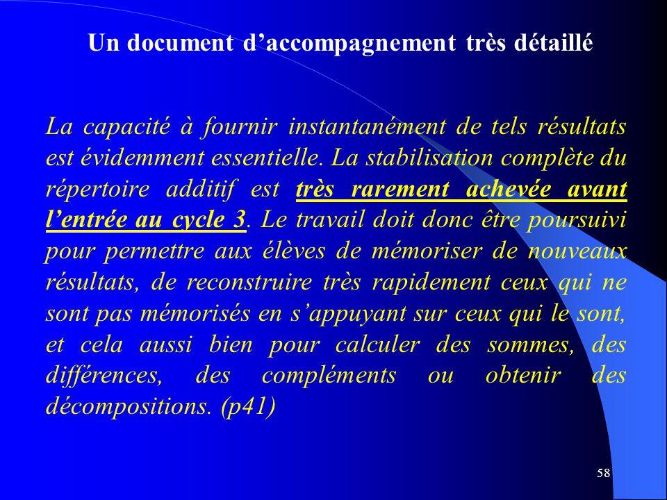 58 Un document d'accompagnement très détaillé La capacité à fournir instantanément de tels résultats est évidemment essentielle. La stabilisation comp