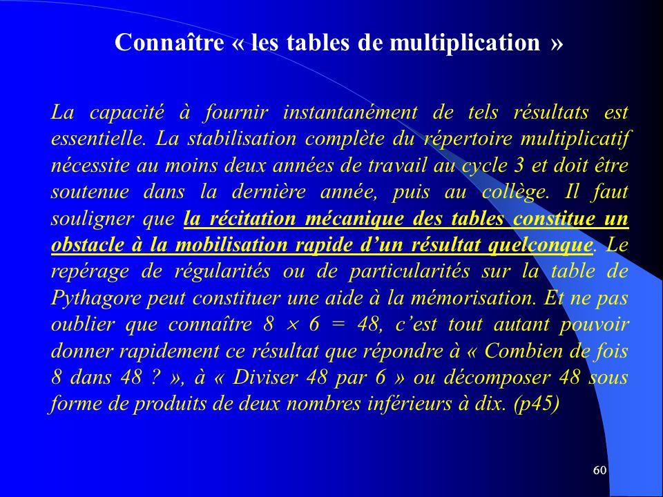60 Connaître « les tables de multiplication » La capacité à fournir instantanément de tels résultats est essentielle. La stabilisation complète du rép