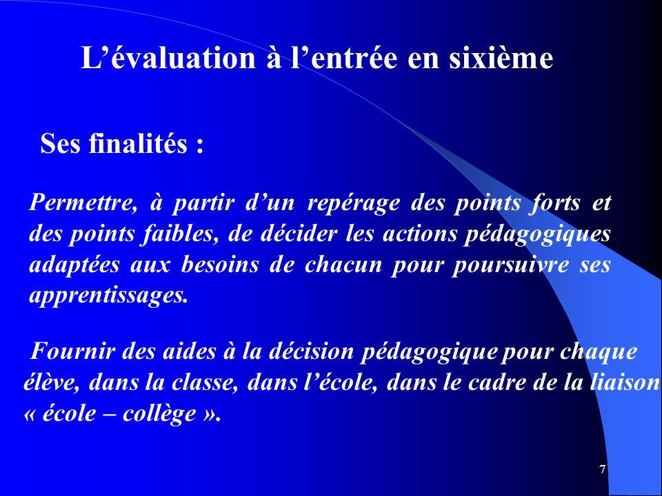 7 L'évaluation à l'entrée en sixième Permettre, à partir d'un repérage des points forts et des points faibles, de décider les actions pédagogiques ada