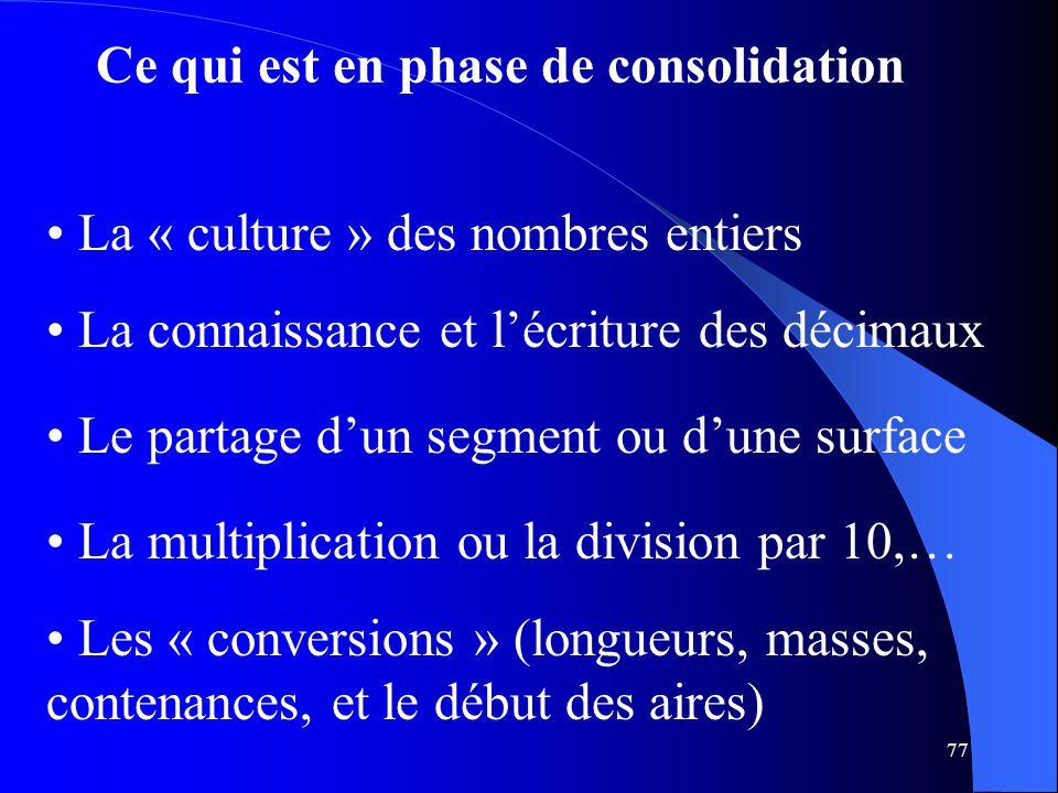 77 Ce qui est en phase de consolidation Le partage d'un segment ou d'une surface La connaissance et l'écriture des décimaux La multiplication ou la di
