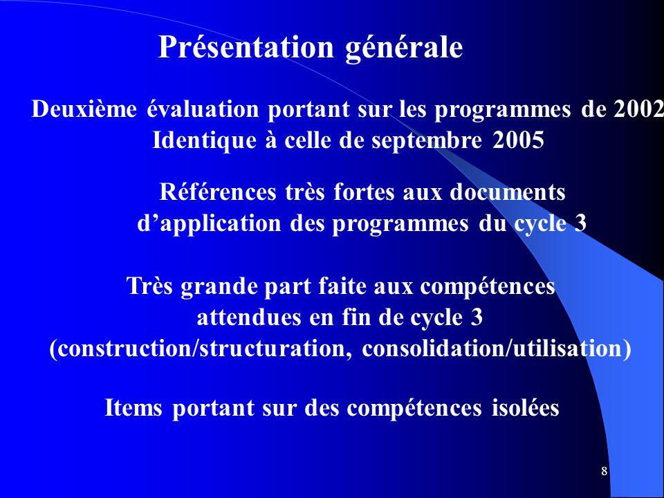 8 Présentation générale Deuxième évaluation portant sur les programmes de 2002 Identique à celle de septembre 2005 Références très fortes aux document
