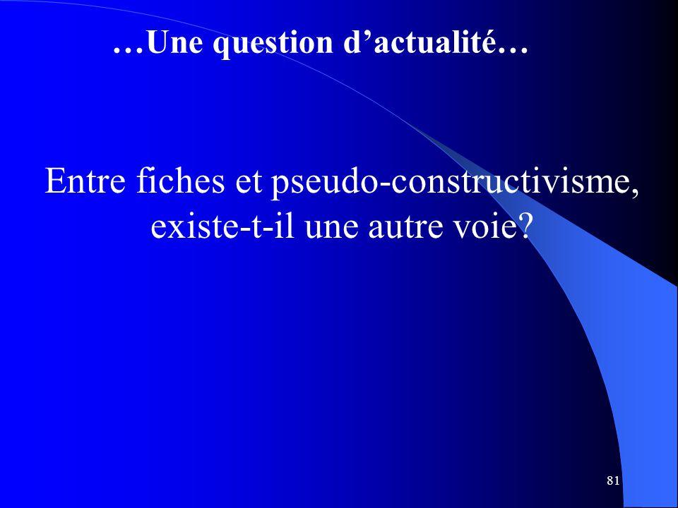 81 …Une question d'actualité… Entre fiches et pseudo-constructivisme, existe-t-il une autre voie?