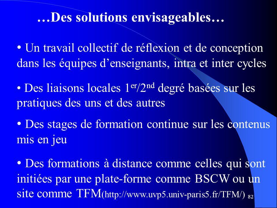 82 …Des solutions envisageables… Un travail collectif de réflexion et de conception dans les équipes d'enseignants, intra et inter cycles Des liaisons