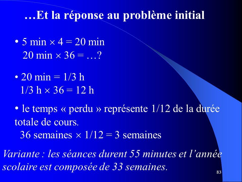 83 …Et la réponse au problème initial 5 min  4 = 20 min 20 min  36 = …? 20 min = 1/3 h 1/3 h  36 = 12 h le temps « perdu » représente 1/12 de la du