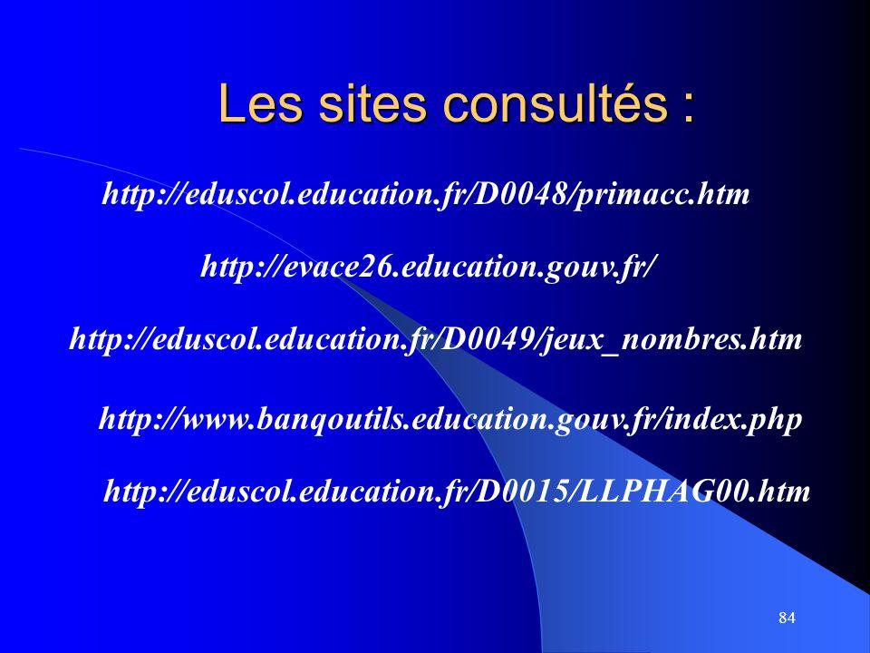 84 Les sites consultés : http://evace26.education.gouv.fr/ http://eduscol.education.fr/D0048/primacc.htm http://eduscol.education.fr/D0049/jeux_nombre