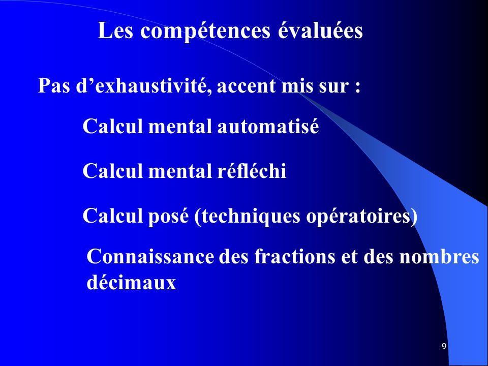 9 Les compétences évaluées Pas d'exhaustivité, accent mis sur : Calcul mental automatisé Calcul mental réfléchi Calcul posé (techniques opératoires) C