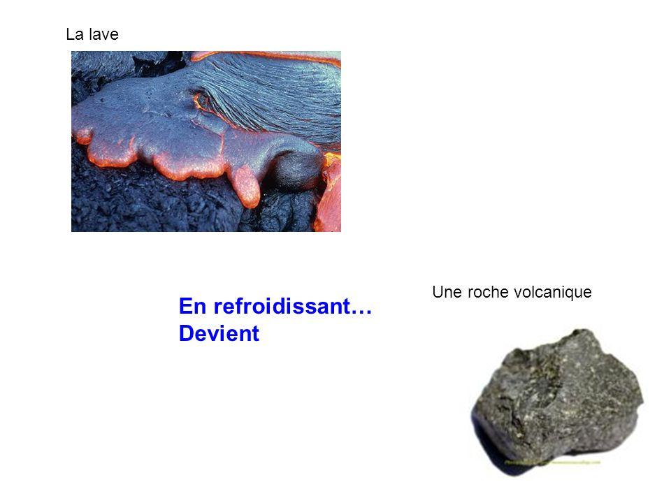 La lave Une roche volcanique En refroidissant… Devient