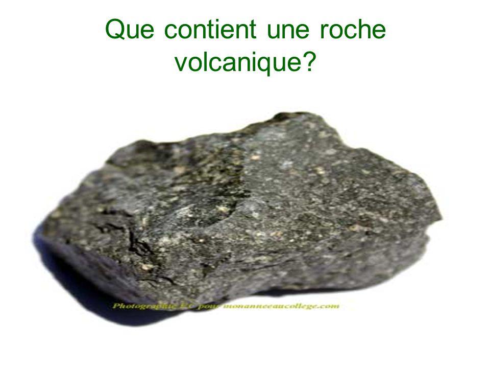 Que contient une roche volcanique?