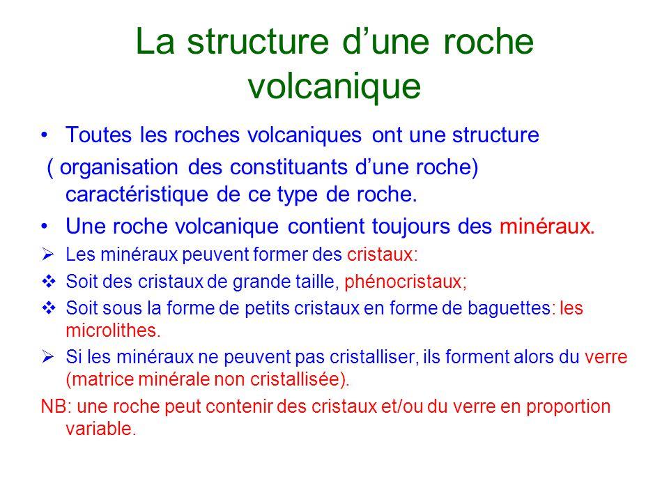 La structure d'une roche volcanique Toutes les roches volcaniques ont une structure ( organisation des constituants d'une roche) caractéristique de ce