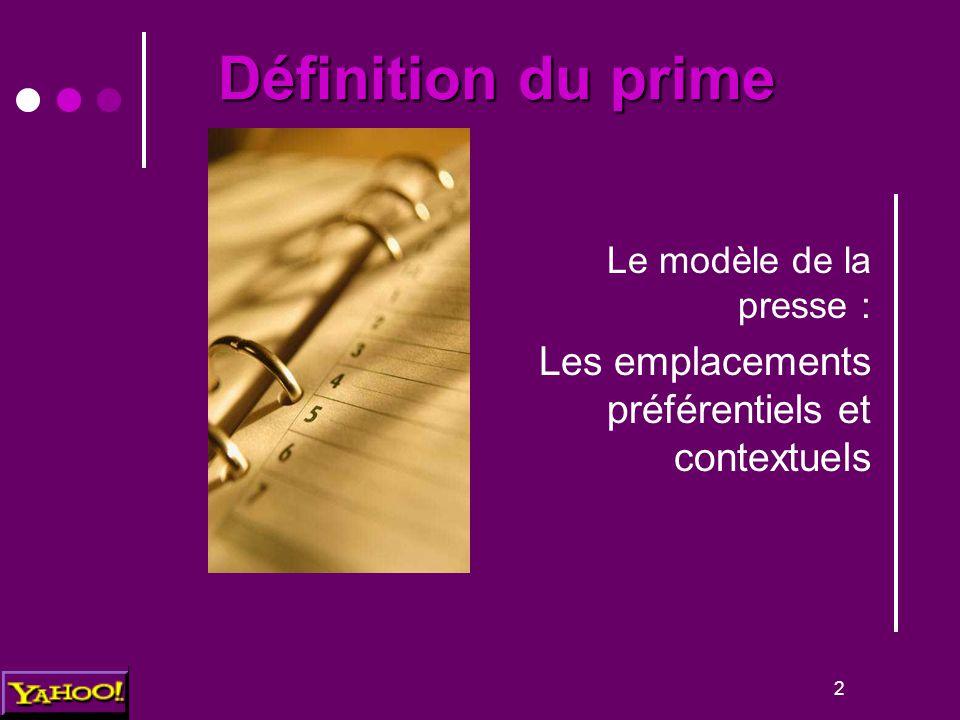2 Définition du prime Le modèle de la presse : Les emplacements préférentiels et contextuels