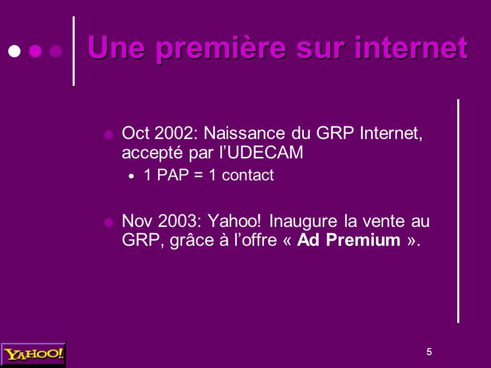 5 Une première sur internet  Oct 2002: Naissance du GRP Internet, accepté par l'UDECAM 1 PAP = 1 contact  Nov 2003: Yahoo.