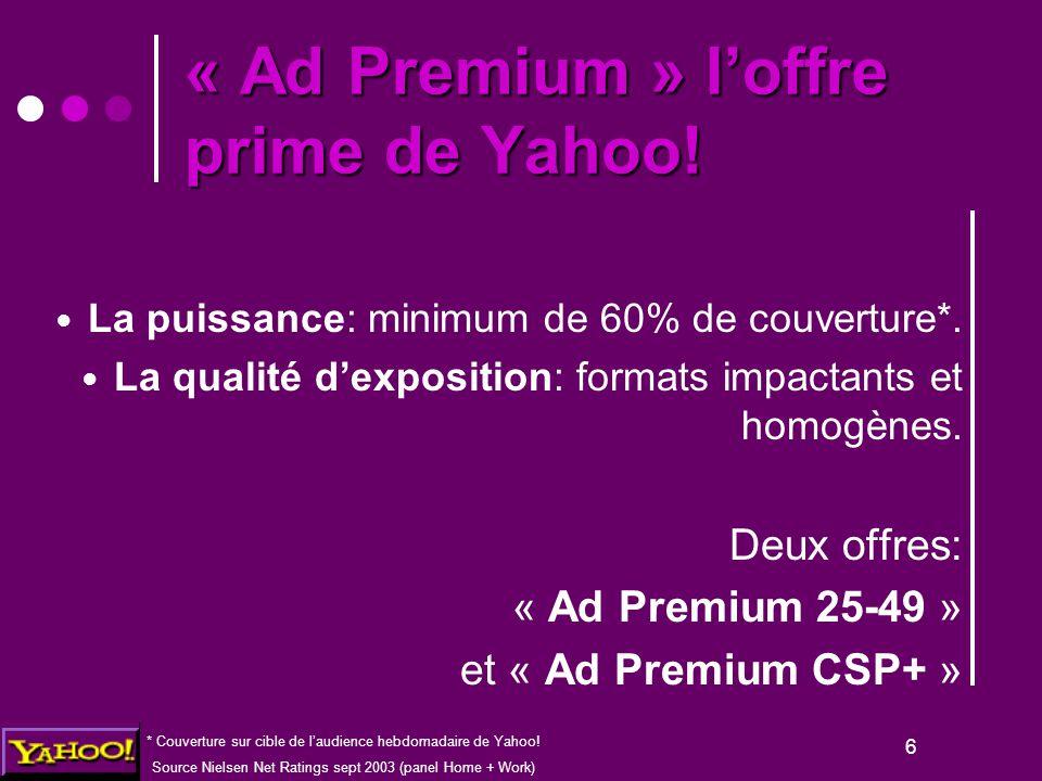 6 La puissance: minimum de 60% de couverture*. La qualité d'exposition: formats impactants et homogènes. Deux offres: « Ad Premium 25-49 » et « Ad Pre