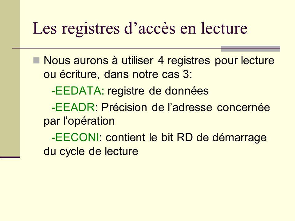 Les registres d'accès en lecture Nous aurons à utiliser 4 registres pour lecture ou écriture, dans notre cas 3: -EEDATA: registre de données -EEADR: P