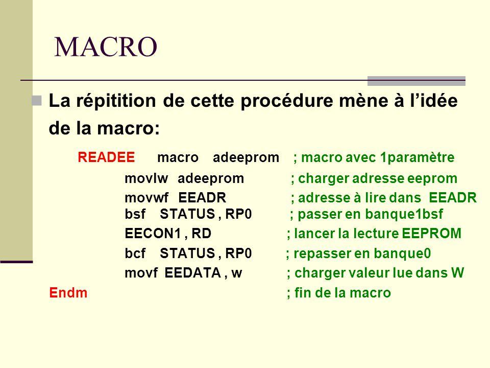 MACRO La répitition de cette procédure mène à l'idée de la macro: READEE macro adeeprom ; macro avec 1paramètre movlw adeeprom ; charger adresse eepro