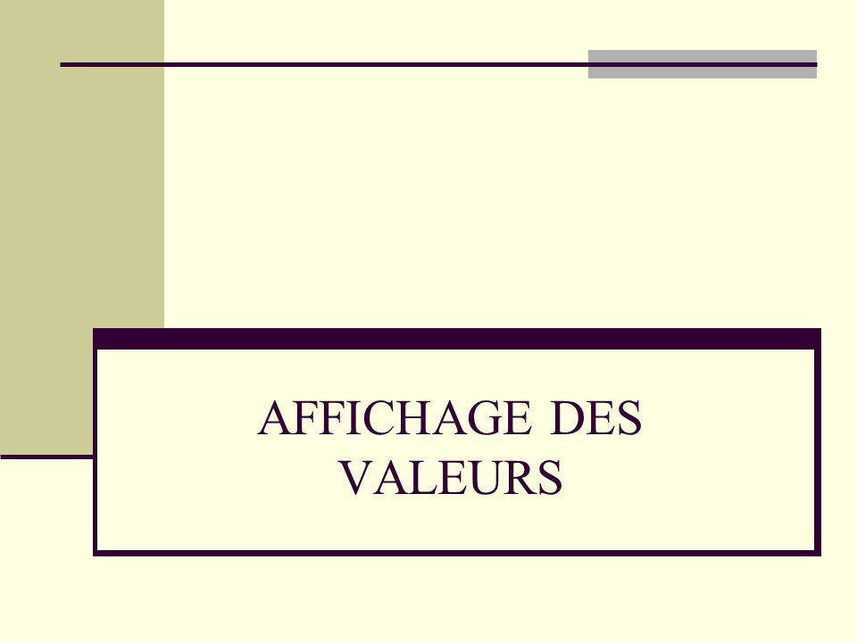 AFFICHAGE DES VALEURS