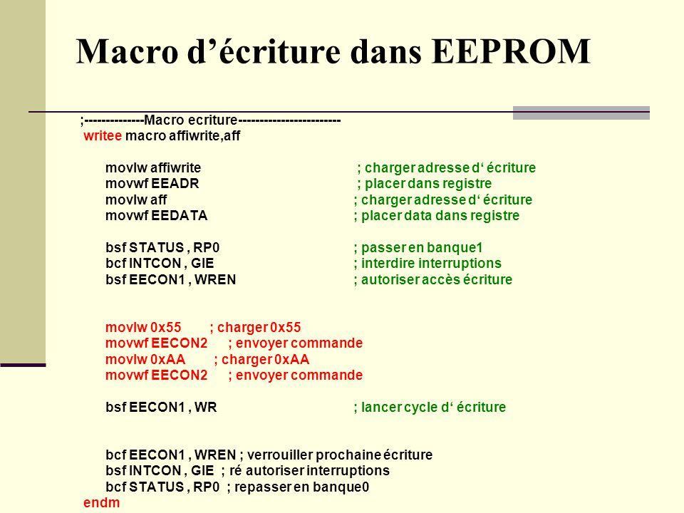 Macro d'écriture dans EEPROM ;--------------Macro ecriture------------------------ writee macro affiwrite,aff movlw affiwrite ; charger adresse d' écr