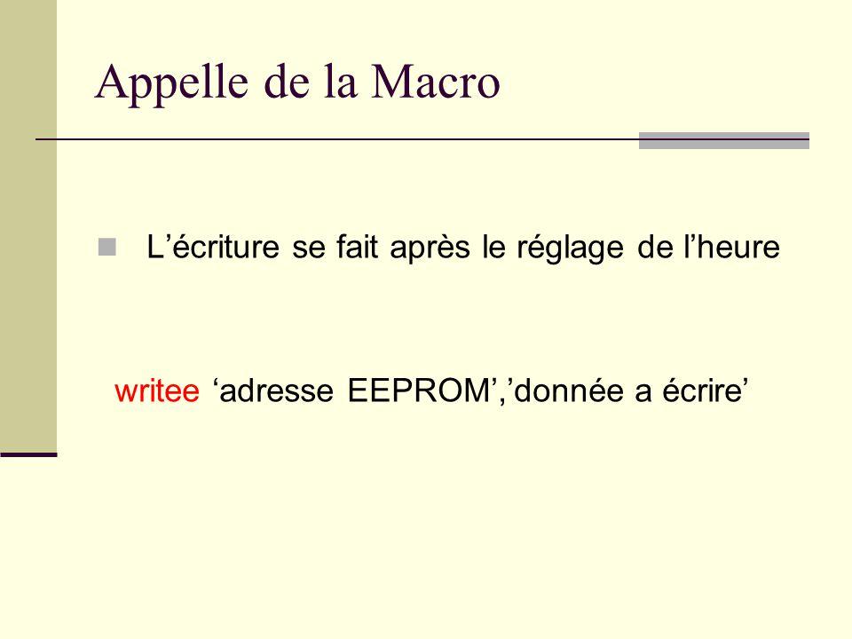 Appelle de la Macro L'écriture se fait après le réglage de l'heure writee 'adresse EEPROM','donnée a écrire'