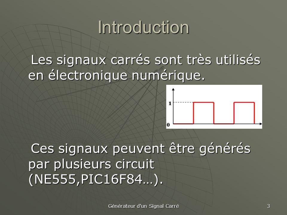 Générateur d'un Signal Carré 3 Introduction Les signaux carrés sont très utilisés en électronique numérique. Les signaux carrés sont très utilisés en