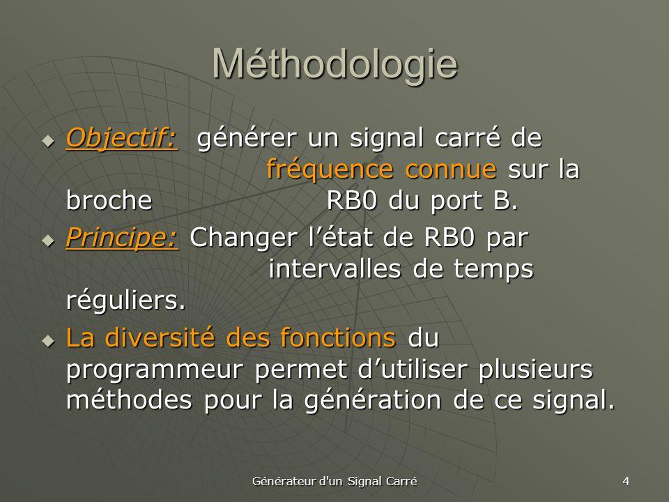 Générateur d'un Signal Carré 4 Méthodologie  Objectif: générer un signal carré de fréquence connue sur la broche RB0 du port B.  Principe: Changer l