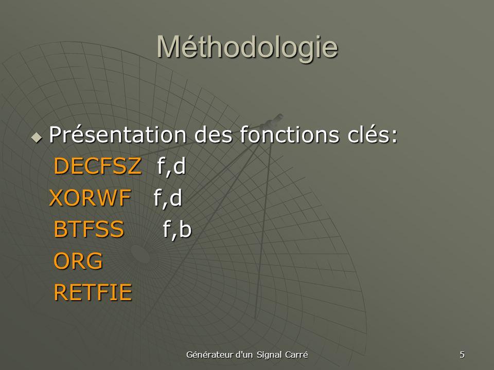 Générateur d un Signal Carré 5  Présentation des fonctions clés: DECFSZ f,d DECFSZ f,d XORWF f,d BTFSS f,b BTFSS f,b ORG ORG RETFIE RETFIE Méthodologie