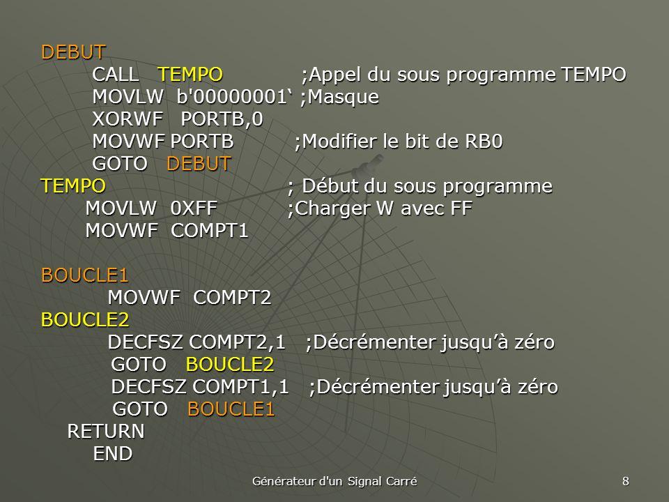 Générateur d un Signal Carré 8 DEBUT CALL TEMPO ;Appel du sous programme TEMPO CALL TEMPO ;Appel du sous programme TEMPO MOVLW b 00000001' ;Masque MOVLW b 00000001' ;Masque XORWF PORTB,0 XORWF PORTB,0 MOVWF PORTB ;Modifier le bit de RB0 MOVWF PORTB ;Modifier le bit de RB0 GOTO DEBUT GOTO DEBUT TEMPO ; Début du sous programme MOVLW 0XFF ;Charger W avec FF MOVLW 0XFF ;Charger W avec FF MOVWF COMPT1 MOVWF COMPT1BOUCLE1 MOVWF COMPT2 BOUCLE2 DECFSZ COMPT2,1 ;Décrémenter jusqu'à zéro GOTO BOUCLE2 GOTO BOUCLE2 DECFSZ COMPT1,1;Décrémenter jusqu'à zéro DECFSZ COMPT1,1;Décrémenter jusqu'à zéro GOTO BOUCLE1 GOTO BOUCLE1 RETURN RETURN END END