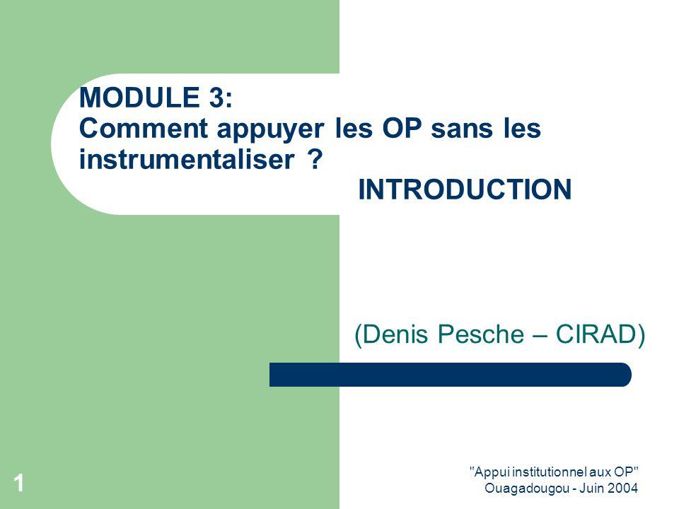 Appui institutionnel aux OP Ouagadougou - Juin 2004 1 MODULE 3: Comment appuyer les OP sans les instrumentaliser .
