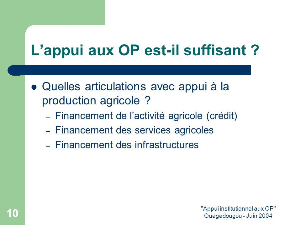 Appui institutionnel aux OP Ouagadougou - Juin 2004 10 L'appui aux OP est-il suffisant .