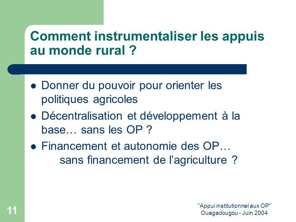 Appui institutionnel aux OP Ouagadougou - Juin 2004 11 Comment instrumentaliser les appuis au monde rural .