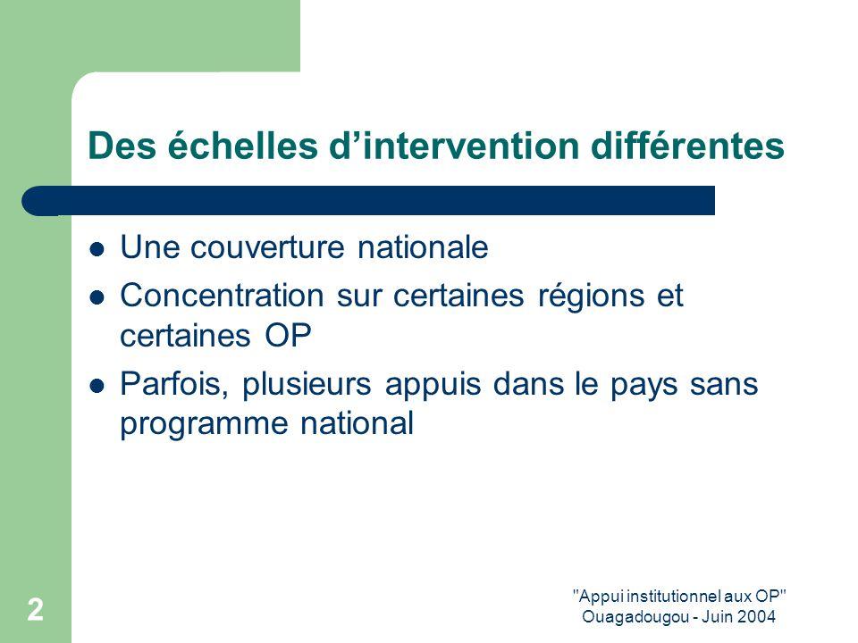Appui institutionnel aux OP Ouagadougou - Juin 2004 2 Des échelles d'intervention différentes Une couverture nationale Concentration sur certaines régions et certaines OP Parfois, plusieurs appuis dans le pays sans programme national