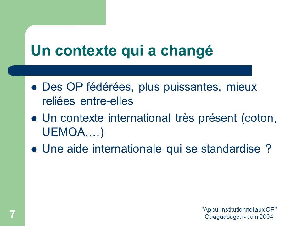 Appui institutionnel aux OP Ouagadougou - Juin 2004 7 Un contexte qui a changé Des OP fédérées, plus puissantes, mieux reliées entre-elles Un contexte international très présent (coton, UEMOA,…) Une aide internationale qui se standardise