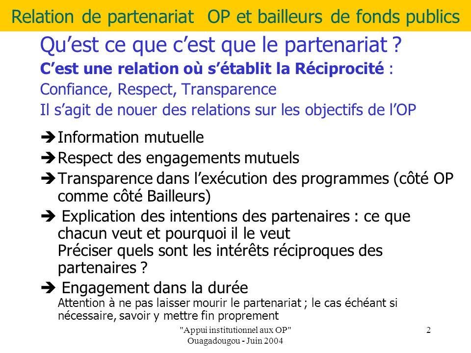 Relation de partenariat OP et bailleurs de fonds publics Appui institutionnel aux OP Ouagadougou - Juin 2004 2 Qu'est ce que c'est que le partenariat .