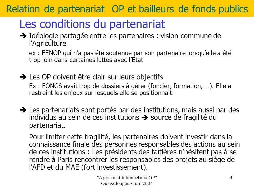 Relation de partenariat OP et bailleurs de fonds publics Appui institutionnel aux OP Ouagadougou - Juin 2004 4 Les conditions du partenariat  Idéologie partagée entre les partenaires : vision commune de l'Agriculture ex : FENOP qui n'a pas été soutenue par son partenaire lorsqu'elle a été trop loin dans certaines luttes avec l'État  Les OP doivent être clair sur leurs objectifs Ex : FONGS avait trop de dossiers à gérer (foncier, formation, …).