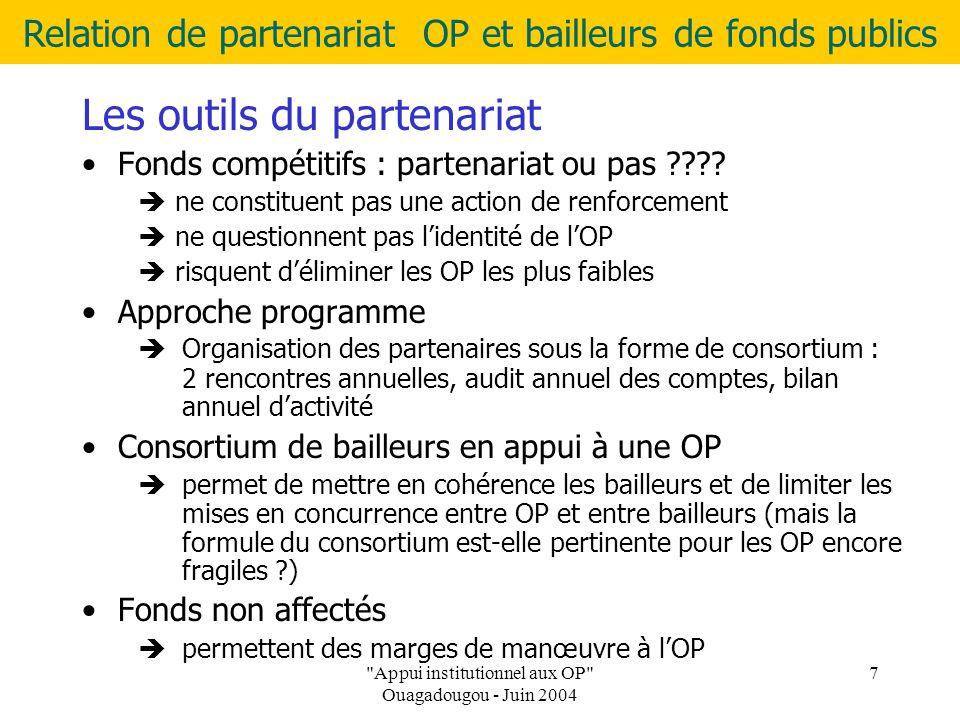 Relation de partenariat OP et bailleurs de fonds publics Appui institutionnel aux OP Ouagadougou - Juin 2004 7 Les outils du partenariat Fonds compétitifs : partenariat ou pas .