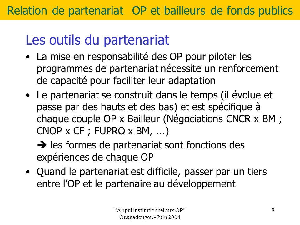 Relation de partenariat OP et bailleurs de fonds publics Appui institutionnel aux OP Ouagadougou - Juin 2004 8 Les outils du partenariat La mise en responsabilité des OP pour piloter les programmes de partenariat nécessite un renforcement de capacité pour faciliter leur adaptation Le partenariat se construit dans le temps (il évolue et passe par des hauts et des bas) et est spécifique à chaque couple OP x Bailleur (Négociations CNCR x BM ; CNOP x CF ; FUPRO x BM,...)  les formes de partenariat sont fonctions des expériences de chaque OP Quand le partenariat est difficile, passer par un tiers entre l'OP et le partenaire au développement