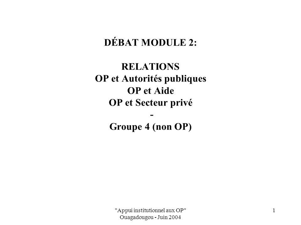 Appui institutionnel aux OP Ouagadougou - Juin 2004 2 Relations OP - Pouvoirs Publics Ambiguïté des relations Reconnaissance des OP dans les textes d'orientation agricole MAIS…ne se traduit pas toujours dans la réalité Actes politiciens incohérents avec les Orientations de Politique (suscite incompréhensions)
